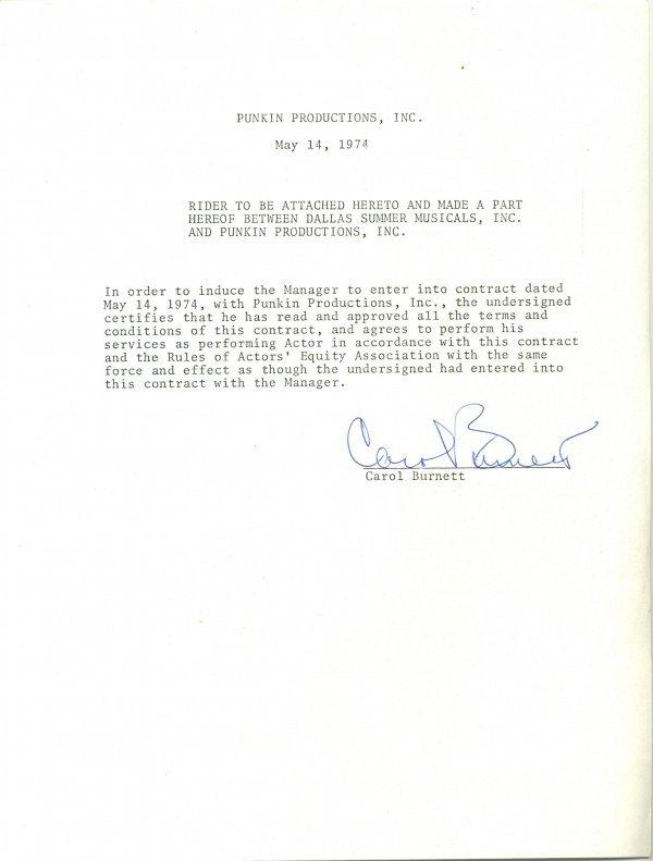 1457: Carol  Burnett  Document Signed UACC PADA
