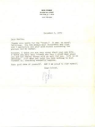 Dance Robert Fosse Letter Signed UACC PADA