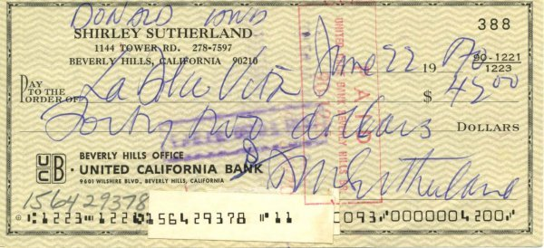 1429: 1429: Donald Sutherland Signed Check UACC PADA