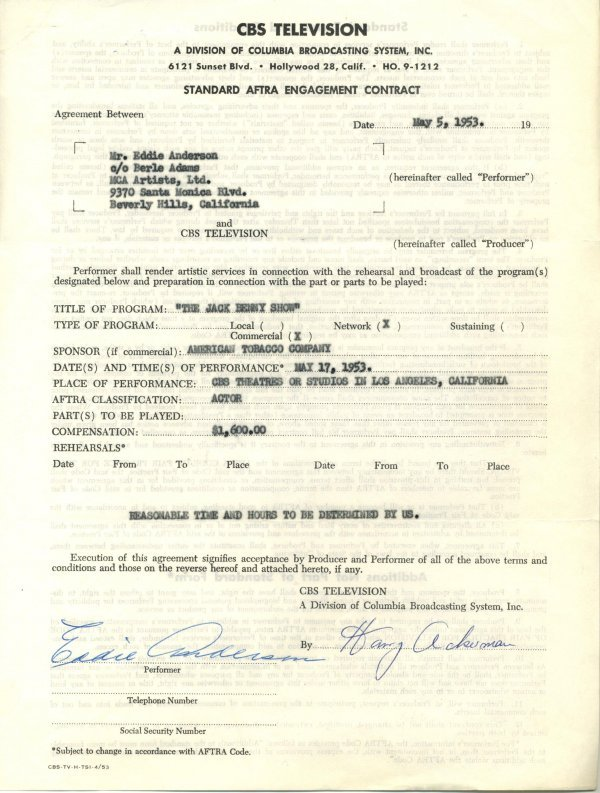 1430: 1430: Eddie Anderson Document Signed UACC PADA