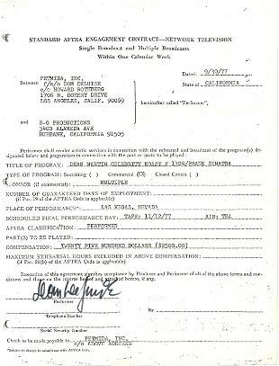 1448: Comedian Dom Deluise Document Signed UACC P