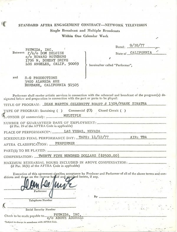 1448: 1448: Comedian Dom Deluise Document Signed UACC P