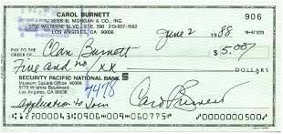 1458: Carol Burnett Signed Check UACC PADA