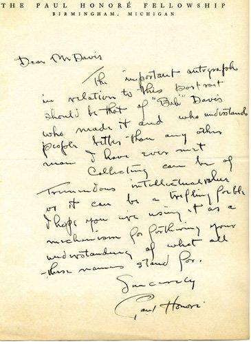 1855: Paul Honore Autograph Letter Signed UACC PADA