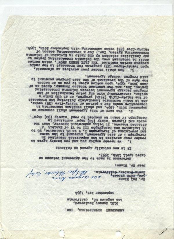 1863: Mel Blanc Document Signed UACC PADA