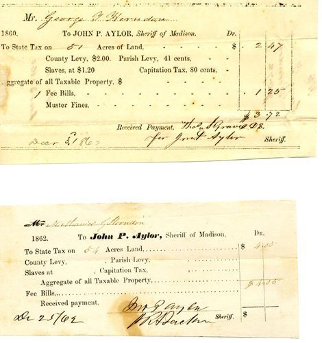 1865: Slavery Two Slave Tax Documents