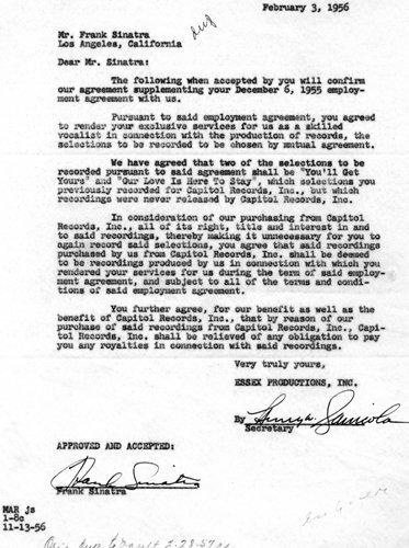 2082: Frank Sinatra Document Signed UACC PADA