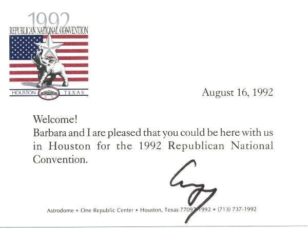 6: George Bush Letter Signed re: Republicans UACC PADA