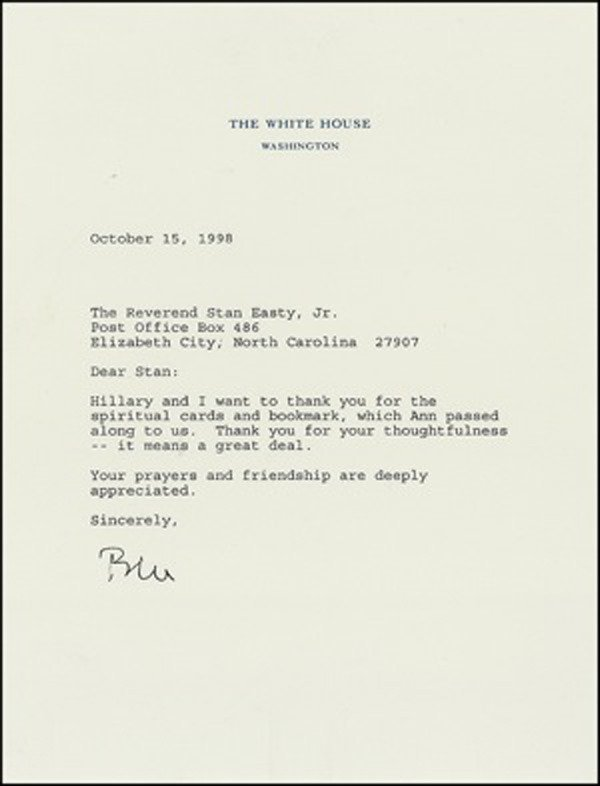 23: Bill Clinton Typed Letter Signed UACC PADA
