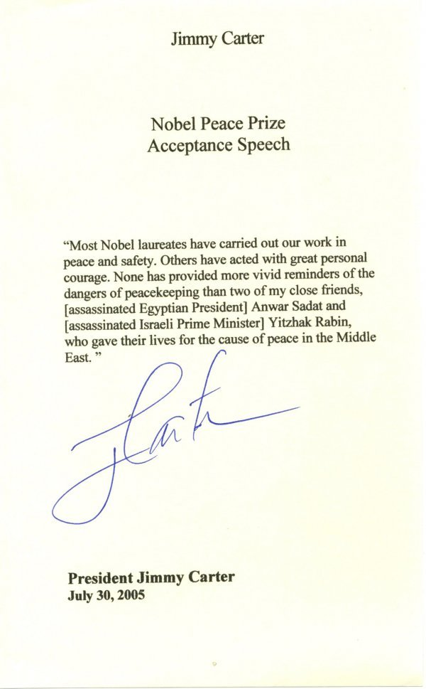 1010: Jimmy Carter Letter Signed UACC PADA