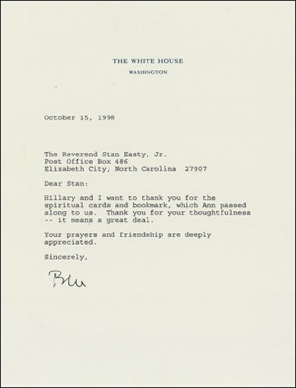 1023: Bill Clinton Typed Letter Signed UACC PADA