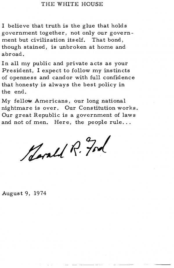 1030: Gerald Ford Swearing in Speech Signed UACC PADA