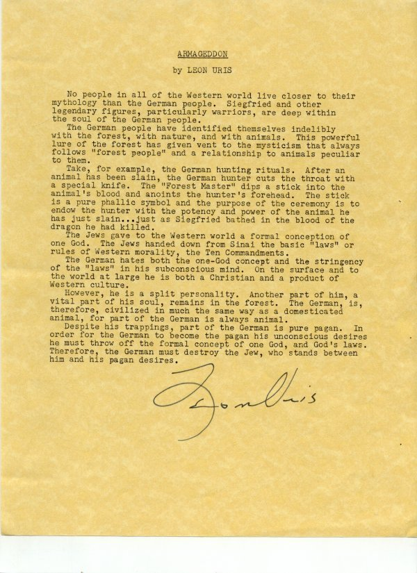 2135: Leon Uris Document Signed UACC PADA