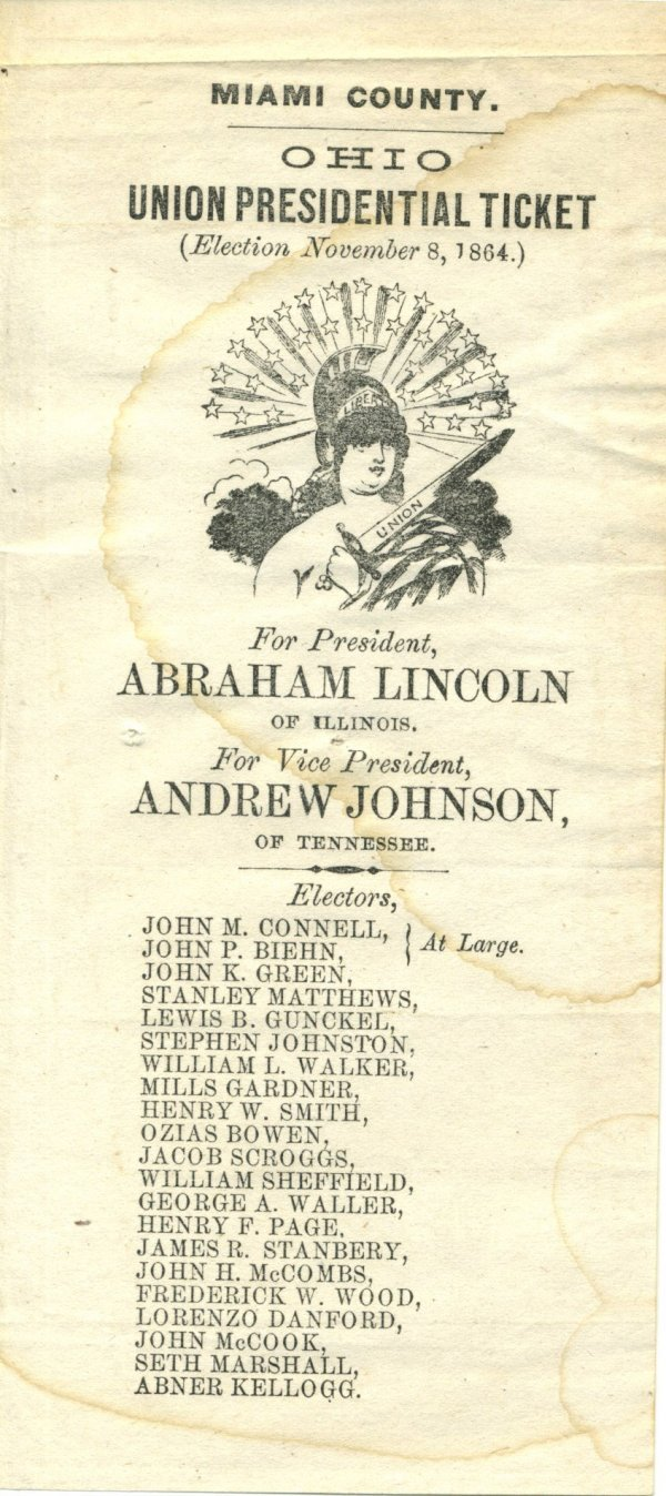 2205: Abraham Lincoln 1864 Election Ticket