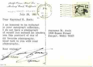 2001: Ansel Adams Letter Signed on Photography UACC PAD