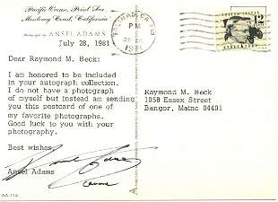 Ansel Adams Letter Signed on Photography UACC PAD