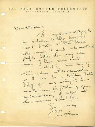 Paul Honore Autograph Letter Signed UACC PADA