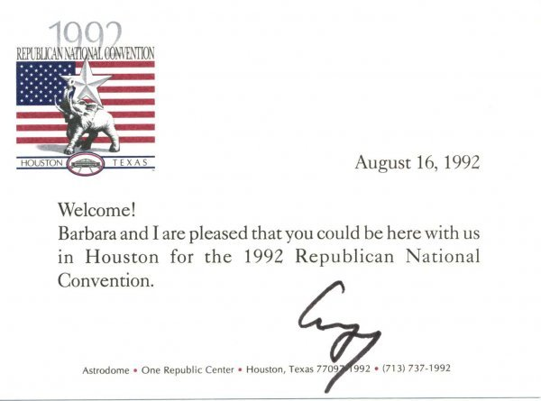 1004: George Bush Letter Signed re: Republicans UACC PA