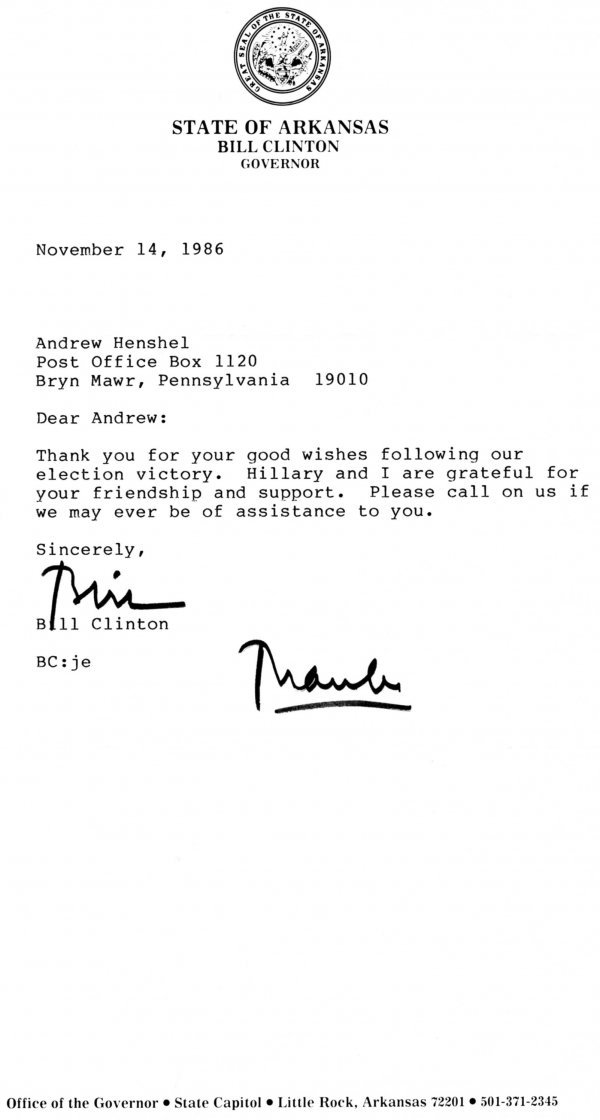 1012: Bill Clinton Letter Signed UACC PADA