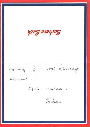 Barbara Bush Autograph Letter Signed UACC PADA