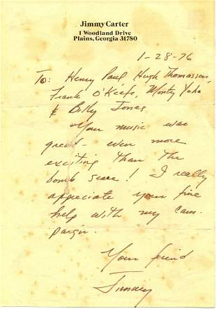 Jimmy Carter Autograph Letter Signed UACC PADA