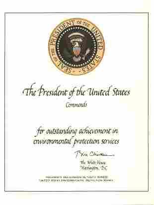 Certificate [Clinton] Presidential Memorabilia UA