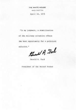Gerald Ford Document Signed UACC PADA