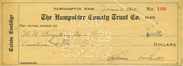 2029: Calvin Coolidge Signed Check UACC PADA