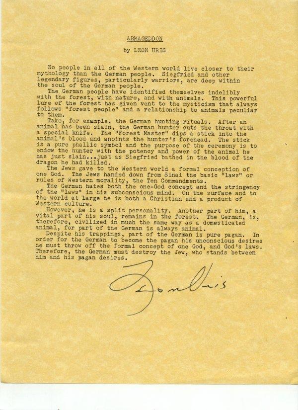 2570: Leon Uris Document Signature UACC PADA