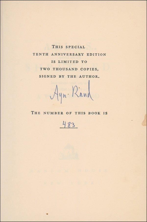 2573: Ayn Rand Book Signed UACC PADA