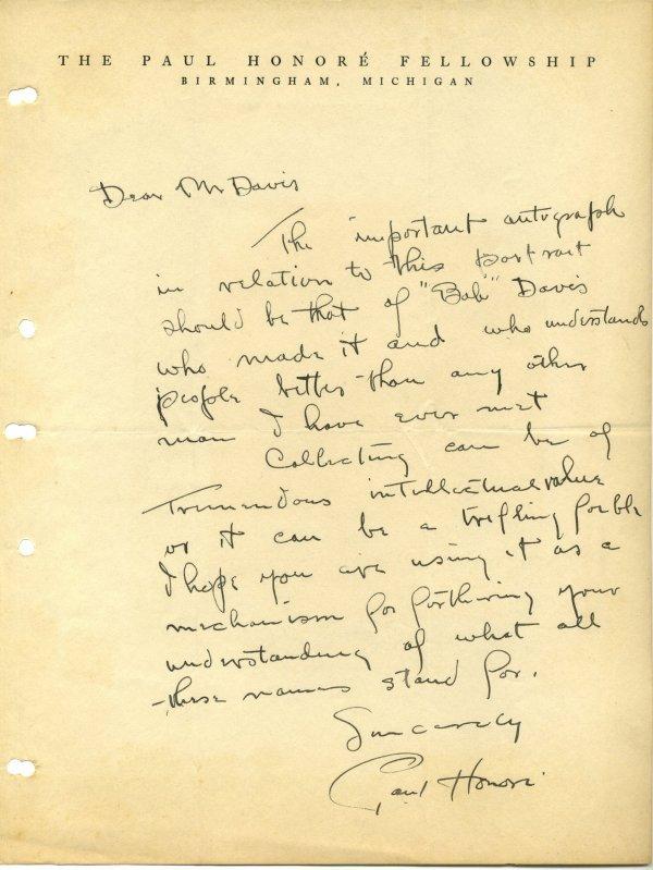 3004: Paul  Honore  Autograph Letter Signed UACC PADA