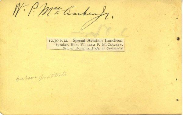 3009: William P. MacCracken Signed UACC PADA