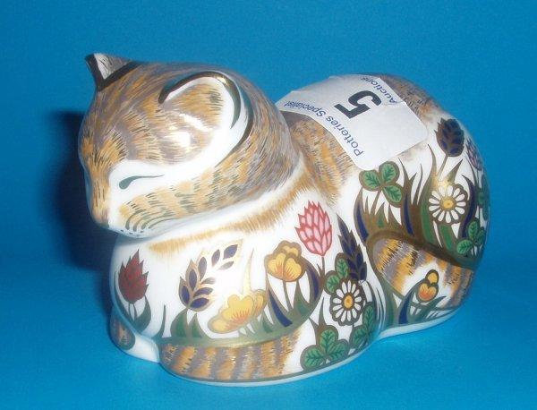 5: Royal Crown Derby Paperweight Cottage Garden Cat Lim