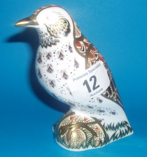 12: Royal Crown Derby Paperweight Song Thrush, Signed B
