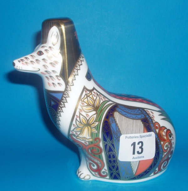 13: Royal Crown Derby Paperweight Welsh Corgi Limited E