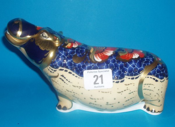 21: Royal Crown Derby Paperweight Hippopitimus Limited