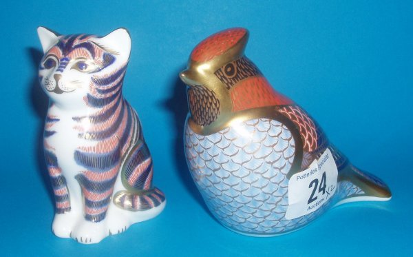 24: Royal Crown Derby Paperweights Waxwing And Seated K