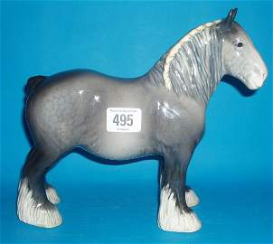 495: Beswick Rare Iron Grey Shire Horse 818