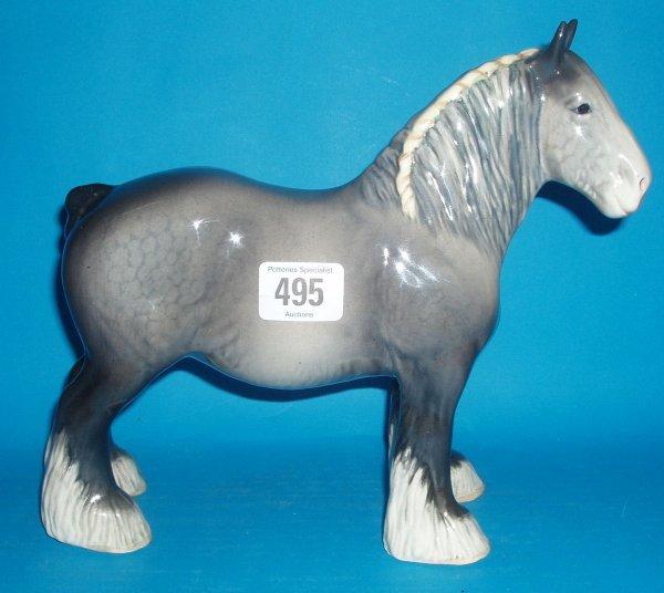 495: Beswick Rare Iron Grey Shire Horse 818