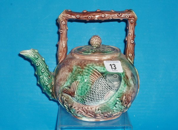 13L: 19th Century Majolica Fish Teapot, height 19cm  (c