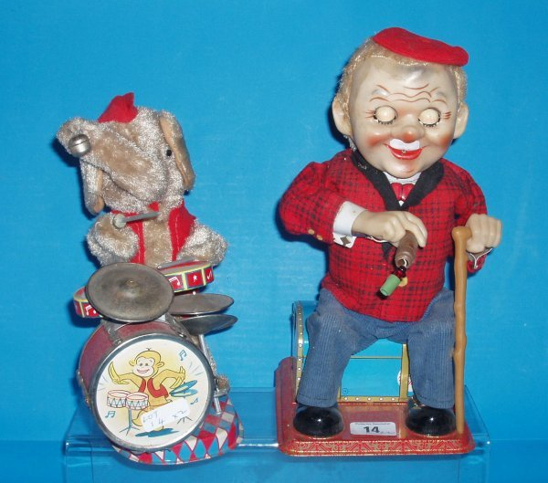14L: 1960s smoking cigar automated toy Mr Mcgregor and