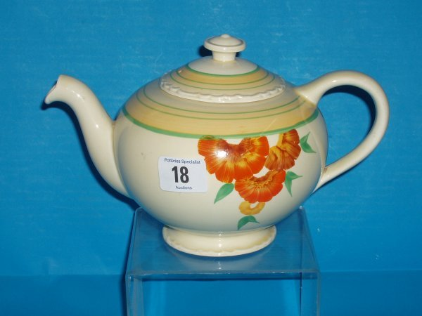 18L: Wilkinsons Honeyglaze tea pot designed by Clarice