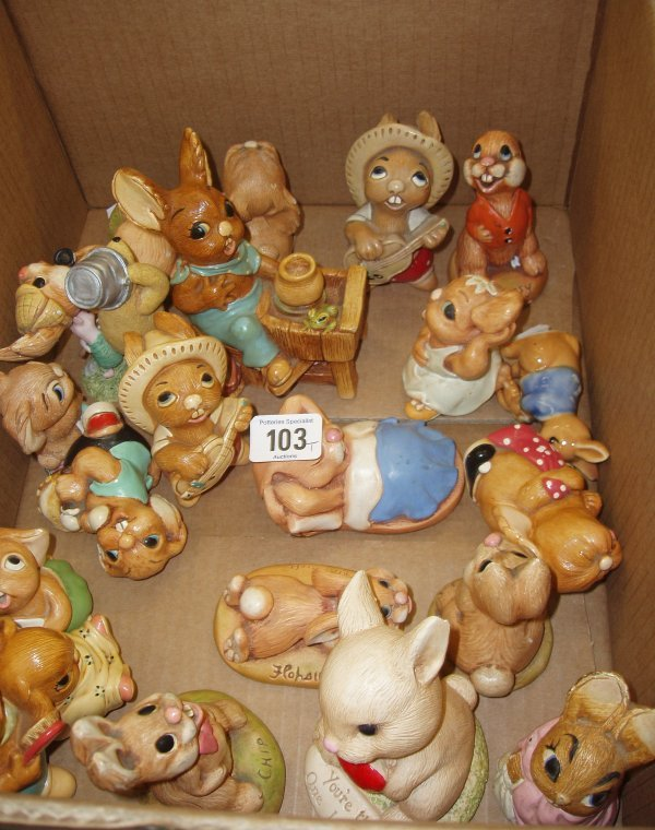 103L: Collection Of Pendelfin & Moorcraft Rabbits (Some