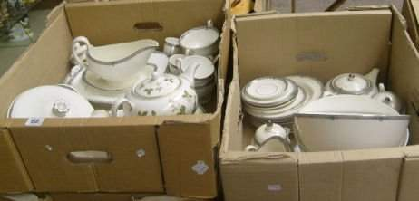 158: Two Trays Of Wedgwood Amherst Dinner service compr
