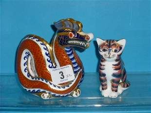 Royal Crown Derby Paperweights Dragon and Kitten (g