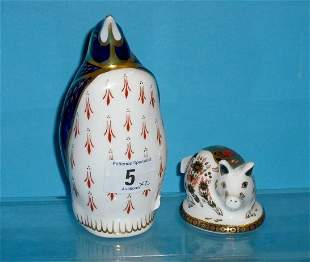 Royal Crown Derby Paperweights Penquin and Pig on b