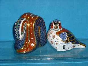 Royal Crown Derby Paperweights Snake and Chelford C