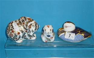 Royal Crown Derby Paperweights seated Bear, Hamster