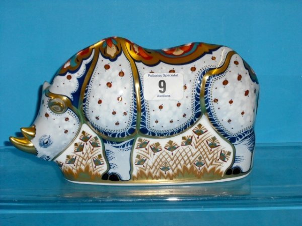 9L: Royal Crown Derby Paperweight White Rhino from Enda