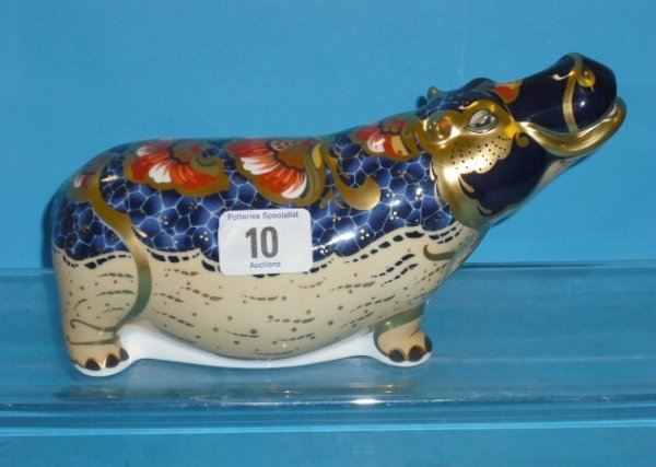 10L: Royal Crown Derby Paperweight Hippopotamus Special